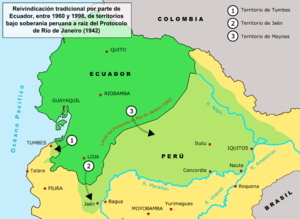 Map showing ecuadorean territorial claims on P...