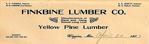 English: Letterhead from Finkbine Lumber Compa...