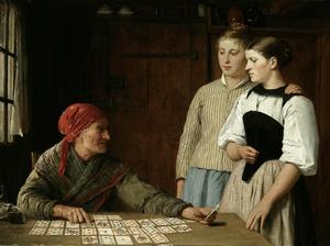 Fortune teller, Albert Anker, 1880