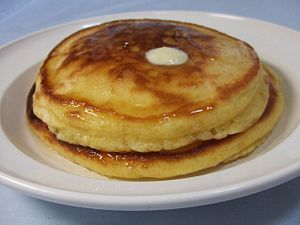 Hot cake, a name for pancake in Japan, topped ...