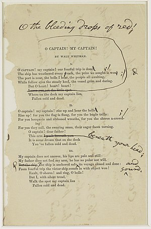 English: Whitman's notes for a revision of &qu...