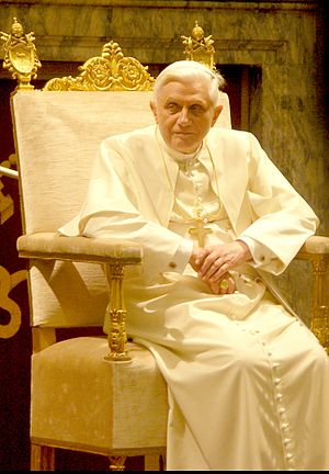 Pope Benedictus XVI at a private audience (Jan...