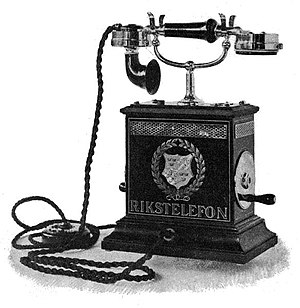 1896 Telephone, hand cranked magneto on right ...