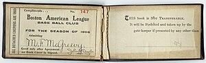 A season pass for the 1906 season.