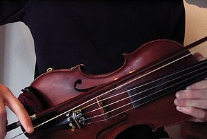 A violinist bowing a violin bridge. This is an...