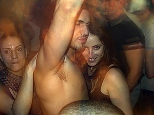 Patrons at nightclub TLV in Tel Aviv, Israel w...