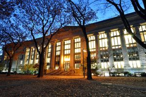 Harvard Law School Library in Langdell Hall at night