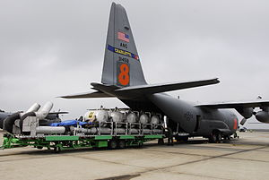 A MAFFS about to be loaded into a C-130 in Nor...