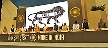Modi at the launch of the Make in India programme.