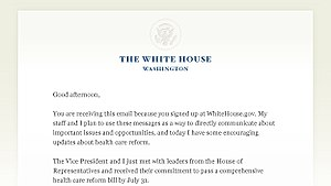 Part of the first email sent by President Bara...