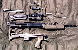 An SA-80 (LA85A1) rifle stripped in 1996.