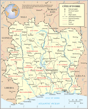 An enlargeable map of the Republic of Côte d'I...
