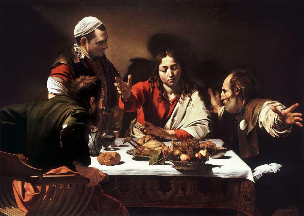 Caravaggio emmaus christ painting