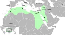 中カリフ帝国の位置