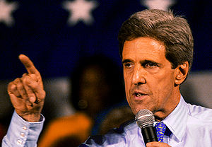 Senator Kerry at a primary rally in St. Louis,...