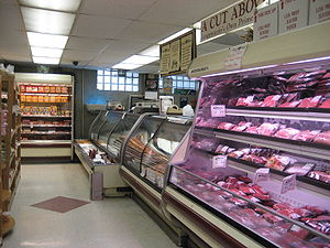 Butcher counter in Grocery store in New Orlean...