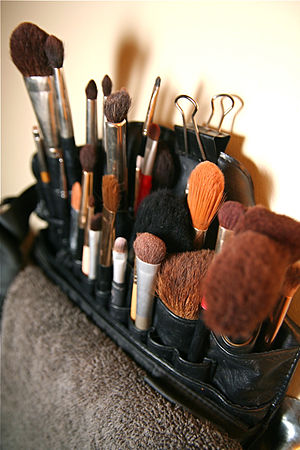 Makeup artists brush kit.