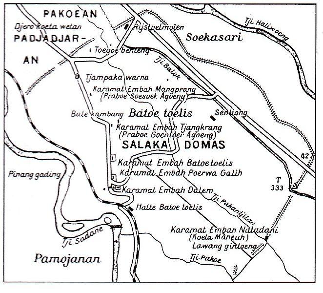 """Salinan gambar """"Lokasi dan Tempat Ibu Kota Pakuan Pajajaran"""" dari buku Kabudayaan Sunda Zaman Pajajaran Jilid 2, 2005)"""