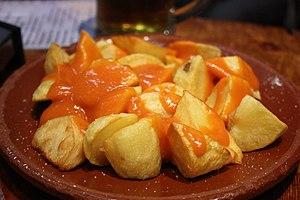 A plate of patatas bravas.