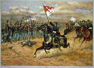 Maj. Gen. Phil Sheridan rallying troops at the...