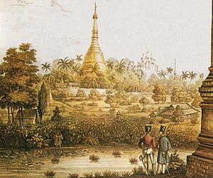 A British 1825 lithograph of Shwedagon Pagoda ...