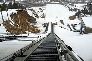 English: The view from the top of the ski jump...