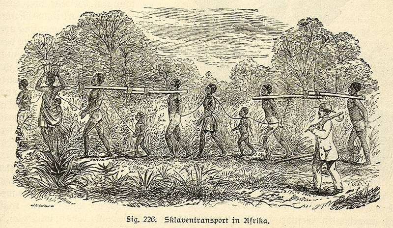 Moving the slaves in Africa.