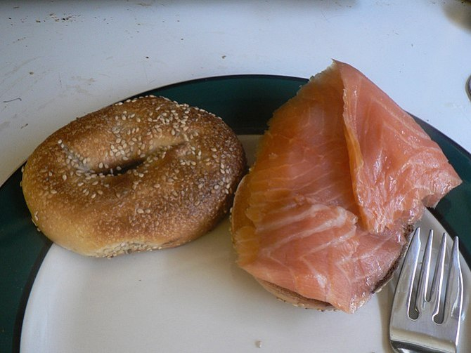 Bagels with cream cheese and lox (cured salmon...
