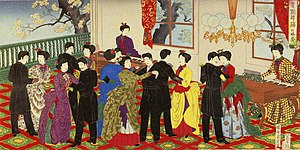 Ukiyoe depicting ballroom dancing at the Rokum...