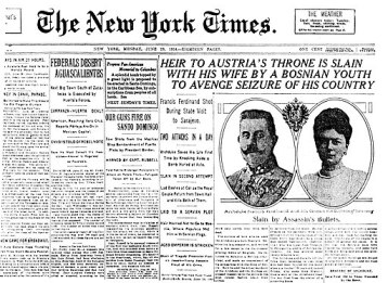 Headline of the New York Times June-29-1914