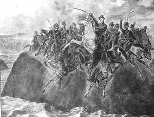 Heroic death of Polish Cavalry unit in Wisła river