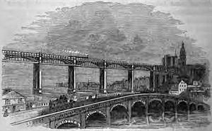 The 1781 stone bridge, with the High Level Bri...