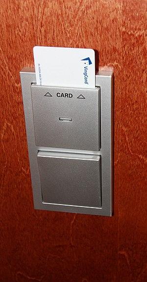 English: Hotel key card holder. The holder con...
