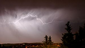 This image shows a cloud to cloud lightning in...