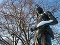 Statue of Massasoit in Plymouth, MA overlooking the site of Plymouth Rock