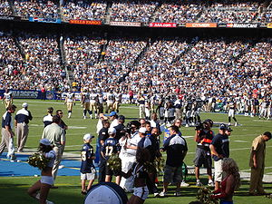 The interior of Qualcomm Stadium during a game...