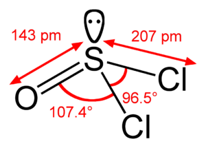 Structure and dimensions of the thionyl chlori...
