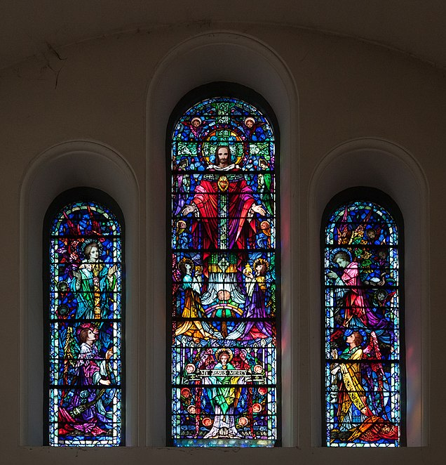 File:Thurles Cathedral West Transept Triple Upper Window Our Lord's Ascension 2012 09 06.jpg