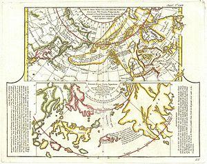 1772 Vaugondy - Diderot Map of Alaska, the Pac...