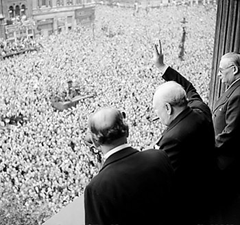 Prime Minister Winston Churchill gives the &qu...