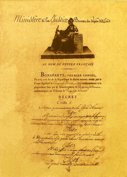 Décret portant création de la Légion d'honneur