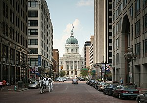 Indiana State Capitol at the end of Market St,...