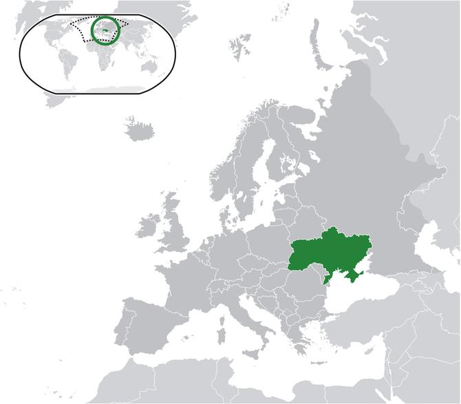 Ukraine (dark green) / Europe (dark g...