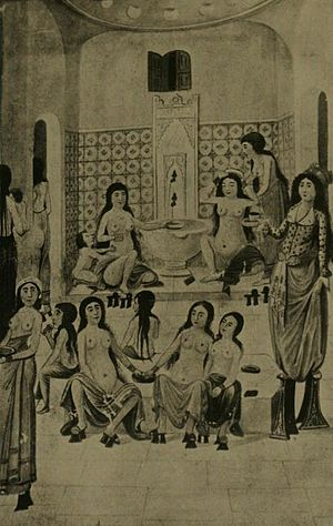 Hammam (bath house) scene from the Zanan-nameh...