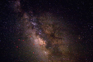A view of the night sky near Sagittarius, enha...