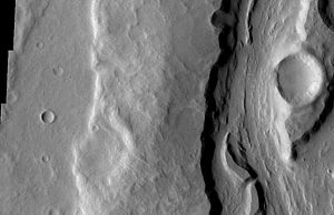 English: Close-up of Padus Vallis, as seen by ...