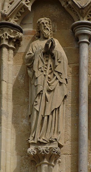 Statue of St Jude on the West Front of Salisbu...