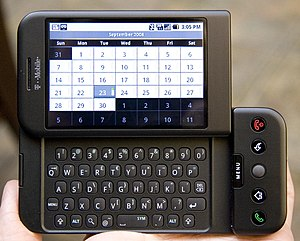 T-Mobile's G1 phone (HTC Dream), using Google'...