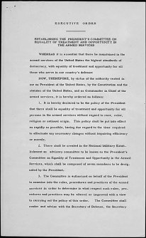 Page 1 of President Truman's Executive Order 9981.