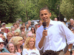 English: US Senator Barack Obama campaigning i...